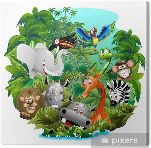 Vilde dyr Tegneserie på Jungle-Animali Selvaggi nella Giungla Fotolærred - Pattedyr