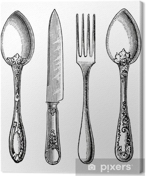 Vintage Silverware Kniv, Gaffel og Sked Fotolærred -