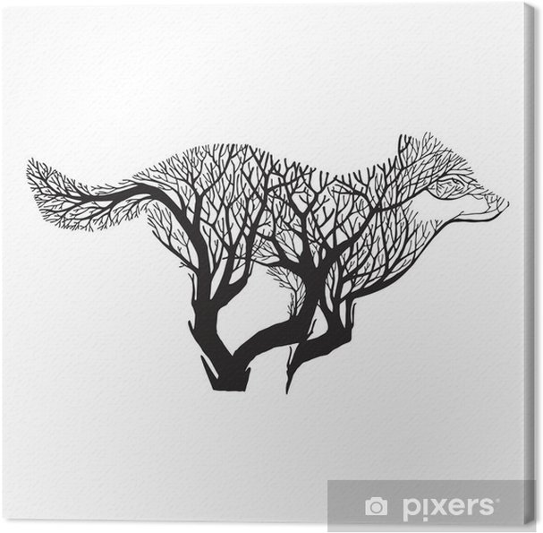 Wolf løbe silhuet dobbelt eksponering blanding træ tegning tatovering vektor Fotolærred - Dyr