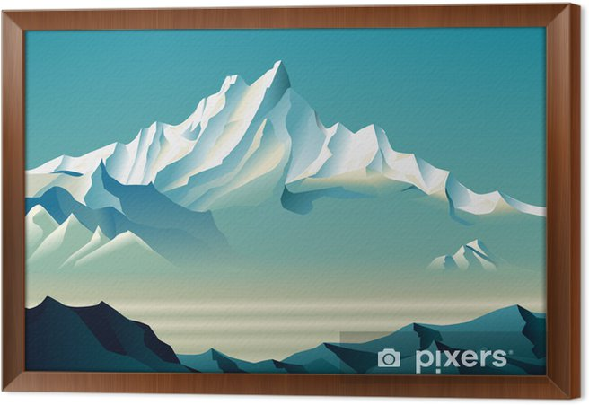 Bewitching snowy mountains in Roerich style. Framed Canvas - Art and Creation