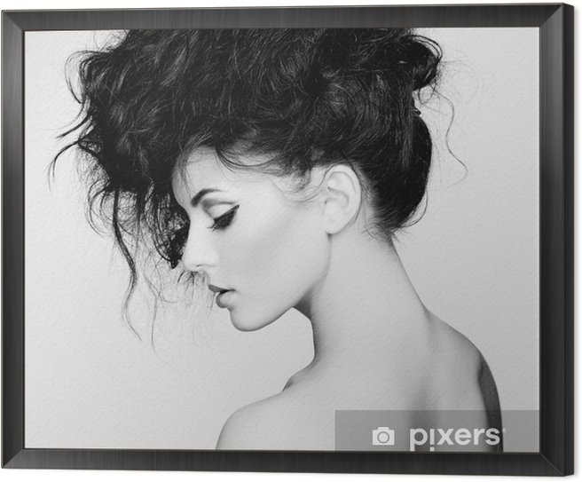 Black and white photo of beautiful woman with magnificent hair Framed Canvas -