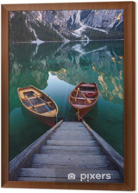 Boats on the Braies Lake ( Pragser Wildsee ) in Dolomites mounta Framed Canvas - Landscapes
