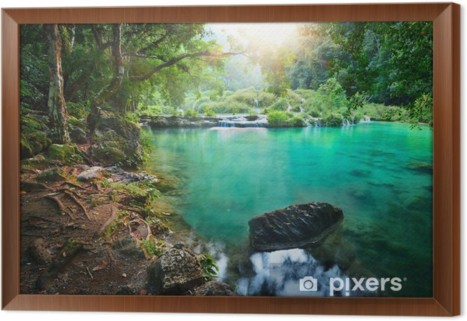 Cascades National Park in Guatemala Framed Canvas - Jungle