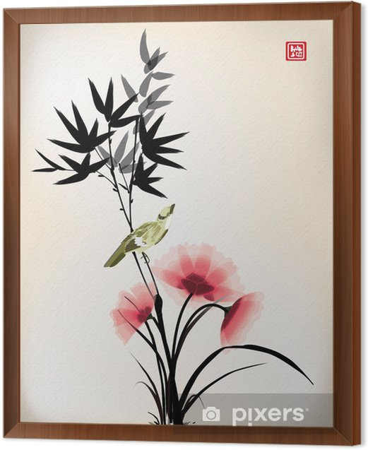 Chinese ink style flower bird drawing Framed Canvas - Criteo