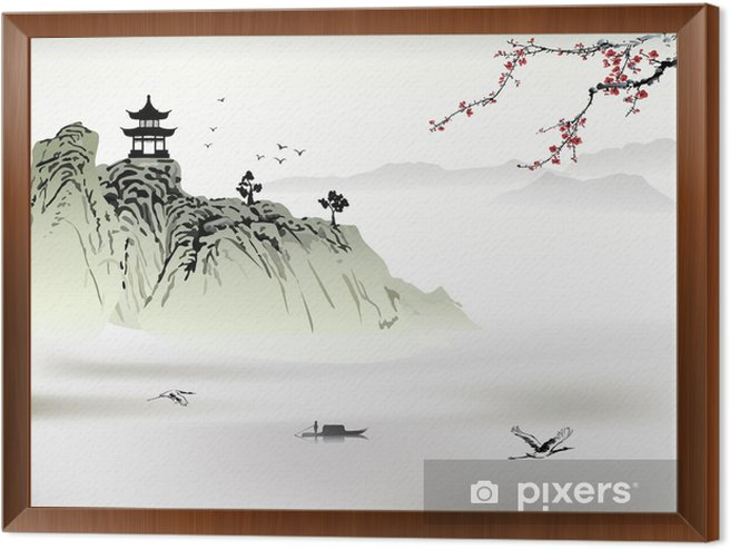 Chinese landscape painting Framed Canvas - Mountains