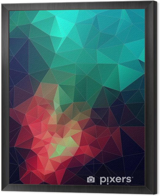 Color Abstract vector mosaic. triangle geometric background Framed Canvas - Graphic Resources