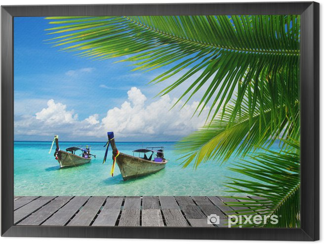 Deck with a view of a tropical sea Framed Canvas - Bestsellers