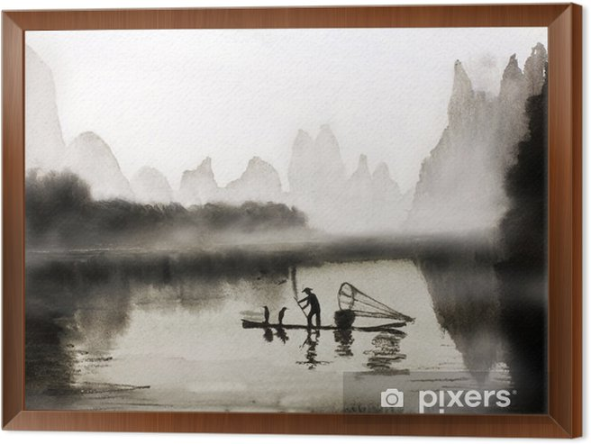 Fishing with cormorants Framed Canvas - People