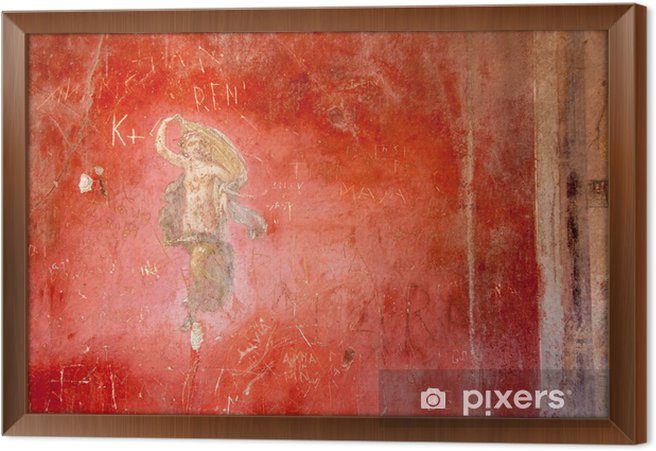 Fresco at the ancient Roman city of Pompeii Framed Canvas - Europe