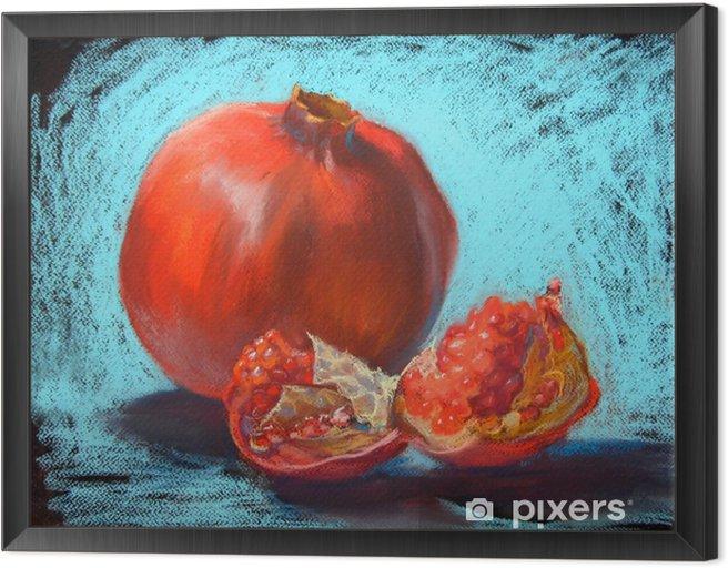Garnet pastels painting illustration, bight turquoise blue background Framed Canvas - Food