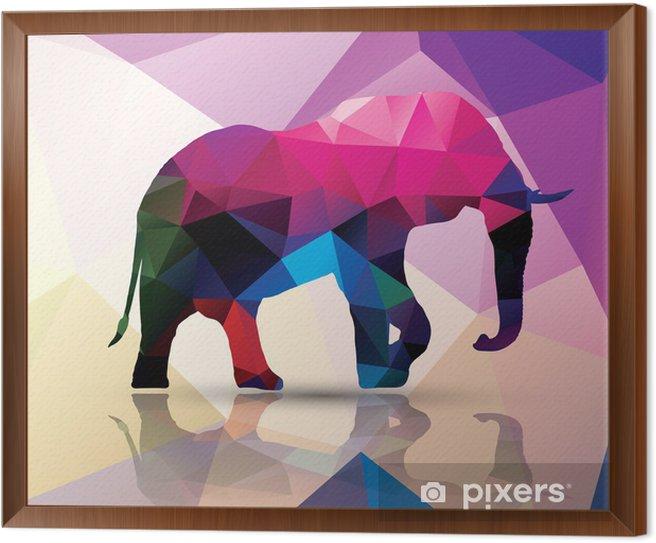 Geometric polygonal elephant, pattern design, vector Framed Canvas - Themes