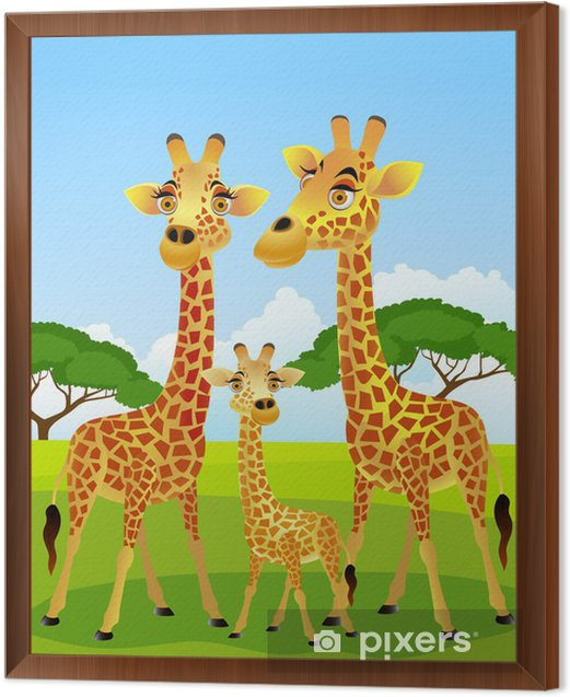 Giraffe family cartoon Framed Canvas - Pupil