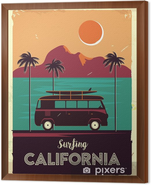 Grunge retro metal sign with palm trees and van. Surfing in California. Vintage advertising poster. Old fashioned design Framed Canvas - Landscapes
