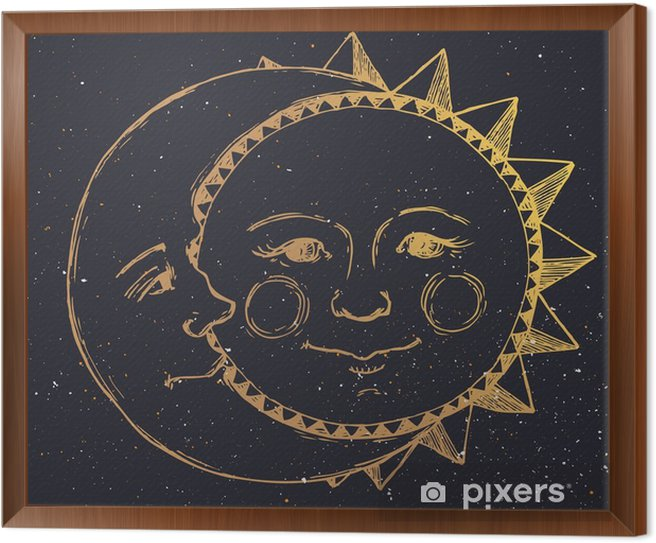 Hand drawn sun with moon Framed Canvas - Graphic Resources
