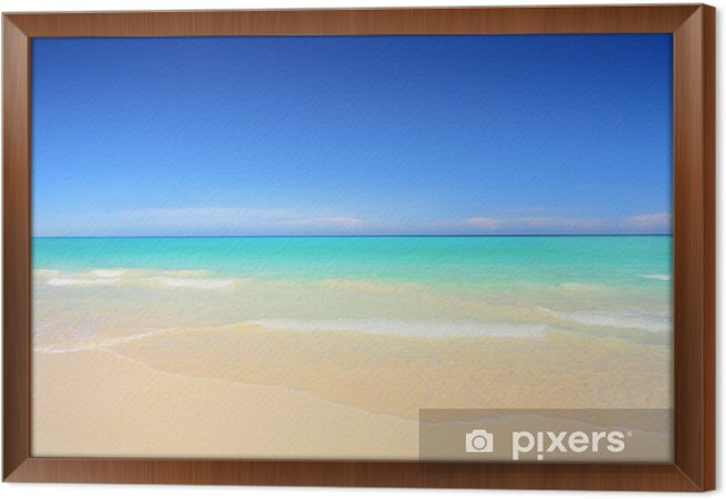 Idyllic beach with white sand and turquoise blue waters Framed Canvas - Themes