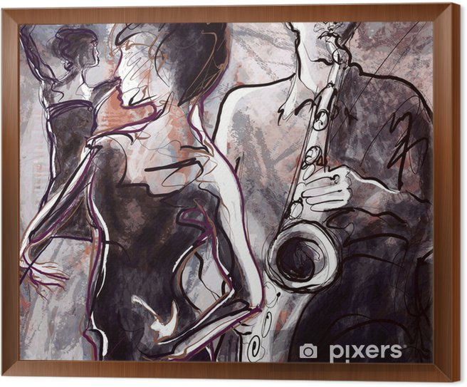 Jazz band with dancers Framed Canvas - Jazz