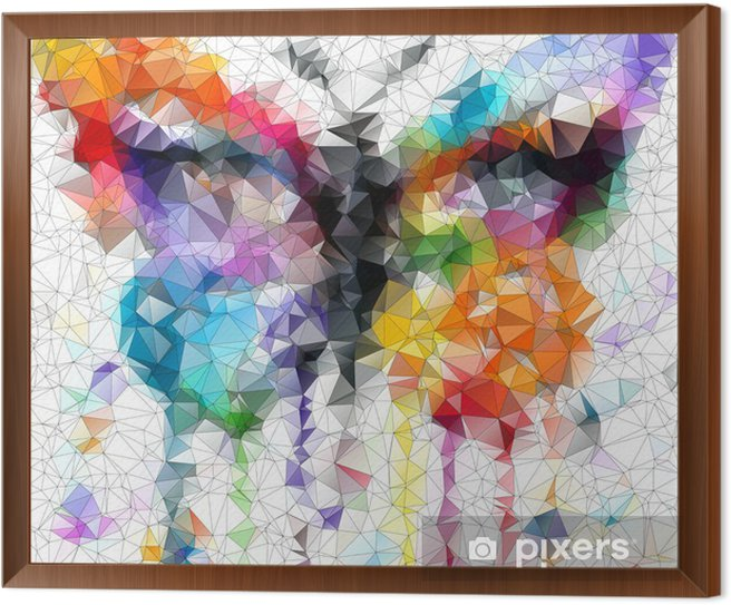 multicolor bright butterfly abstract geometric background Framed Canvas - Styles