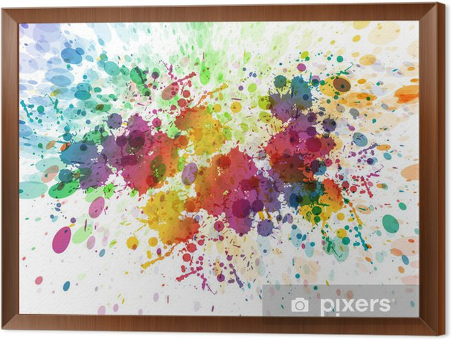 raster version of Abstract colorful splash background Framed Canvas - Hobbies and Leisure