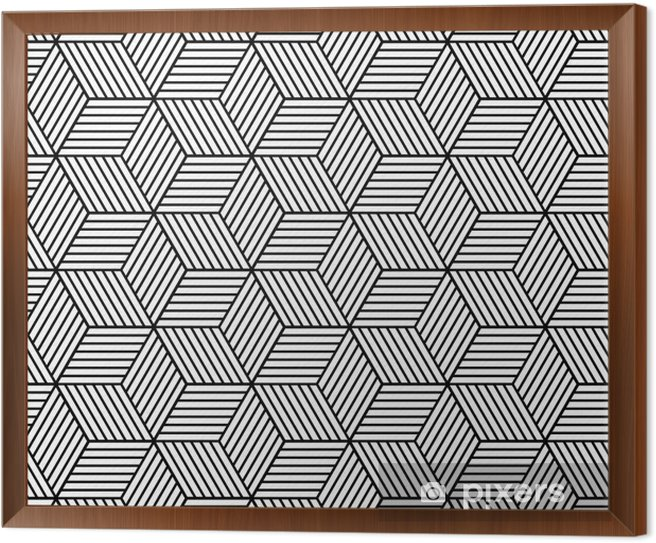 Seamless geometric pattern with cubes Framed Canvas - Graphic Resources