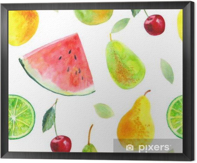 Seamless pattern with fruit.Watermelon lemon lime pears and cherry.Food picture.Watercolor hand drawn illustration. Framed Canvas - Food