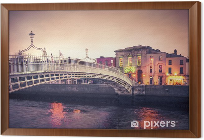 Vintage style historic Ha'penny Bridge, Dublin Ireland at dusk Framed Canvas - Themes