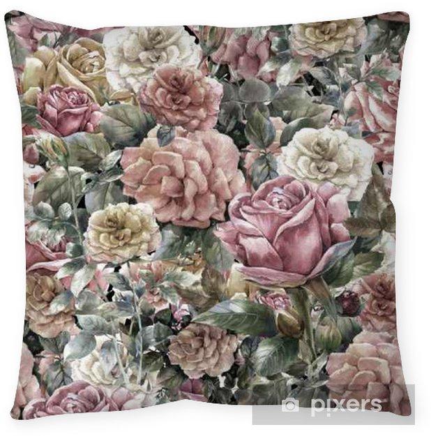 Funda de almohada Acuarela de flores, rosa, modelo inconsútil - Recursos gráficos
