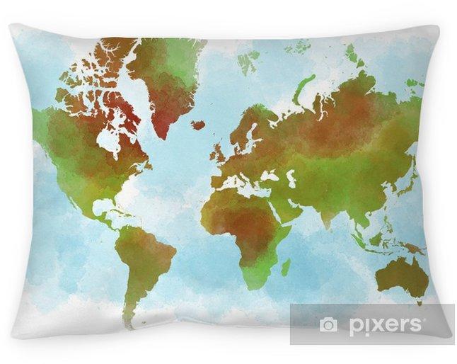 Funda de almohada Cartina del mondo, planisfero disegnato a mano a pennellate - Paisajes