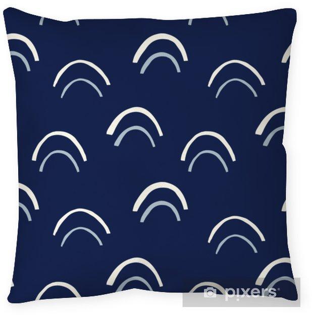 Funda de almohada Crema de arcos dibujados a mano vector de patrones sin fisuras. Resumen recortado de impresión. Fondo geométrico añil de la escala de pez - Recursos gráficos