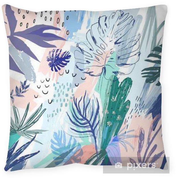 Funda de almohada Fondo floral creativo universal con un estilo tropical. Vector - Plantas y flores