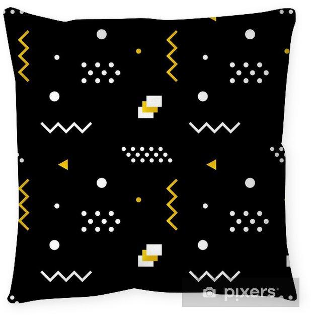 Funda de almohada Las formas geométricas moderno, de moda sin problemas de fondo minimalista en colores blanco, negro y dorado. - Recursos gráficos