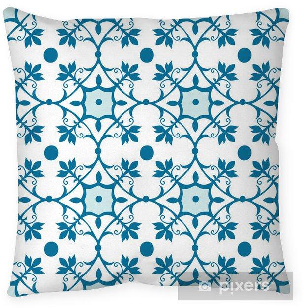 Funda de almohada Modelo inconsútil del azulejo en color azul - Temas