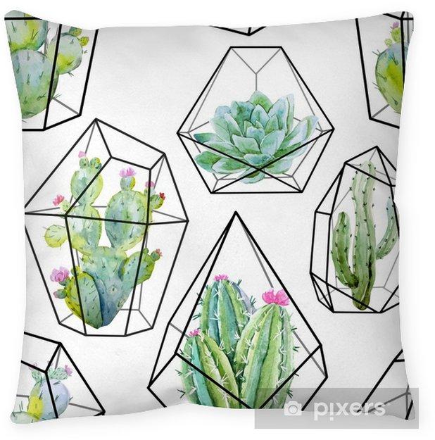 Funda de almohada Patrón de cactus vector acuarela - Plantas y flores