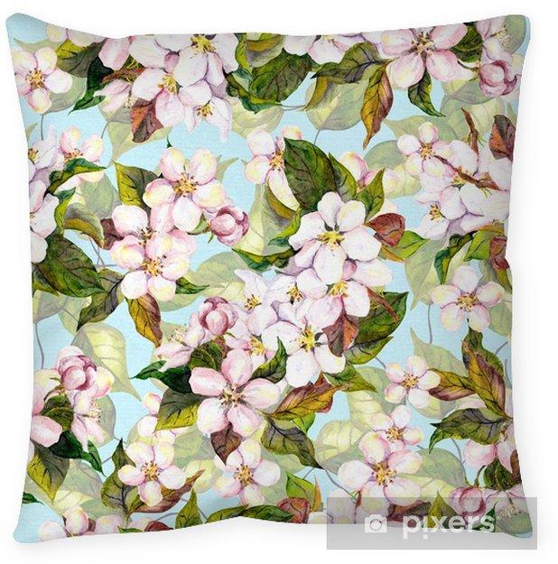 Funda de almohada Patrón floral transparente con flor de árbol de fruta blanca - flor de cerezo sobre fondo de cielo azul. arte de acuarela - Recursos gráficos