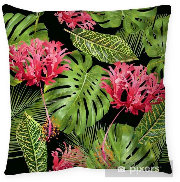 Funda de almohada Patrón sin costuras de flor tropical - Plantas y flores