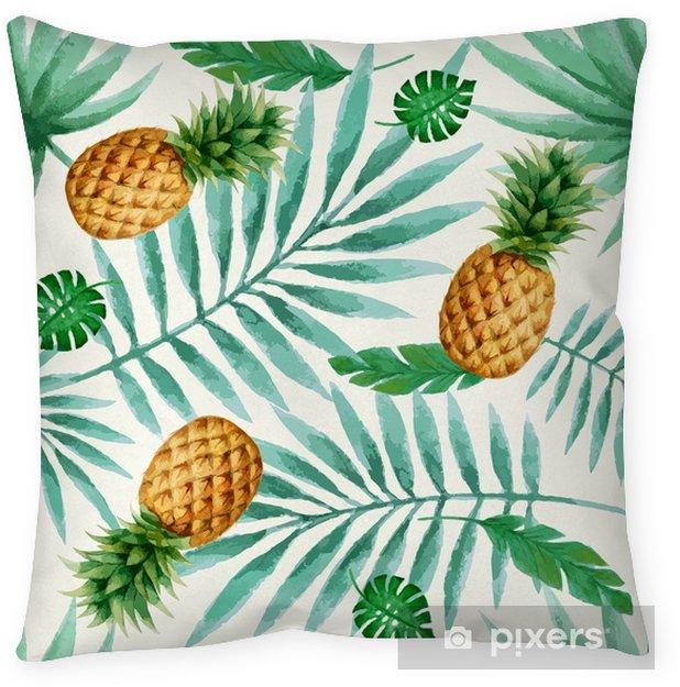 Funda de almohada Patrón sin costuras de frutas exóticas, acuarela. - Plantas y flores
