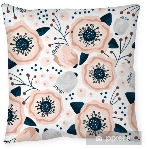 Funda de almohada Patrón sin fisuras con flores en colores pastel. Textura floral creativa. Ideal para tela, ilustración vectorial textil - Recursos gráficos