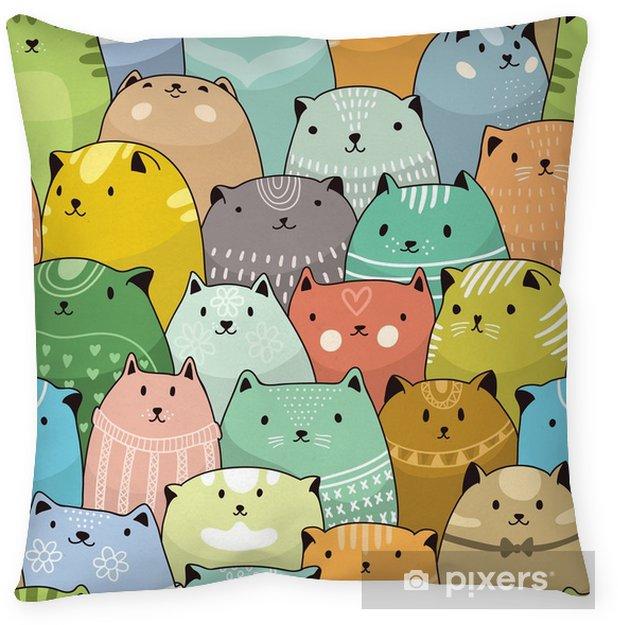Funda de almohada Patrón sin fisuras de los gatos - Recursos gráficos
