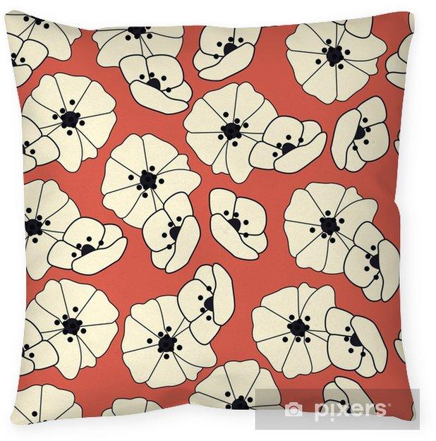 Funda de almohada Patrones sin fisuras con flores y elementos florales, vida de la naturaleza, ilustración vectorial - Plantas y flores