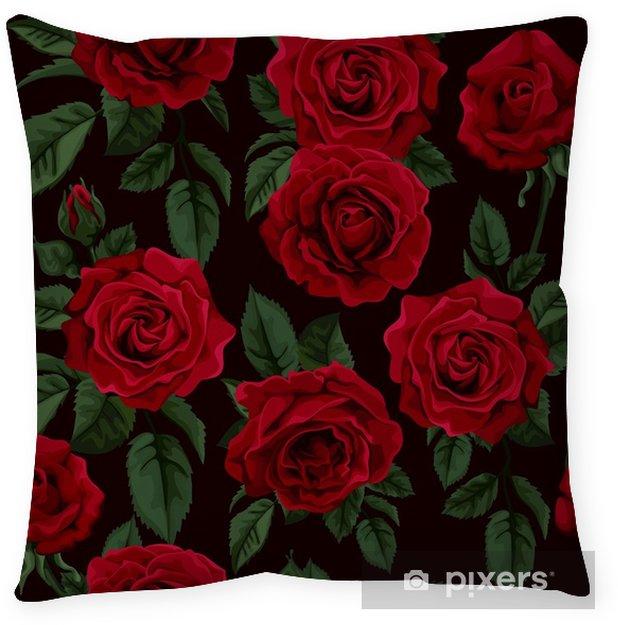 Funda de almohada Patrones sin fisuras con rosas rojas, ilustración vectorial. - Estilo de vida