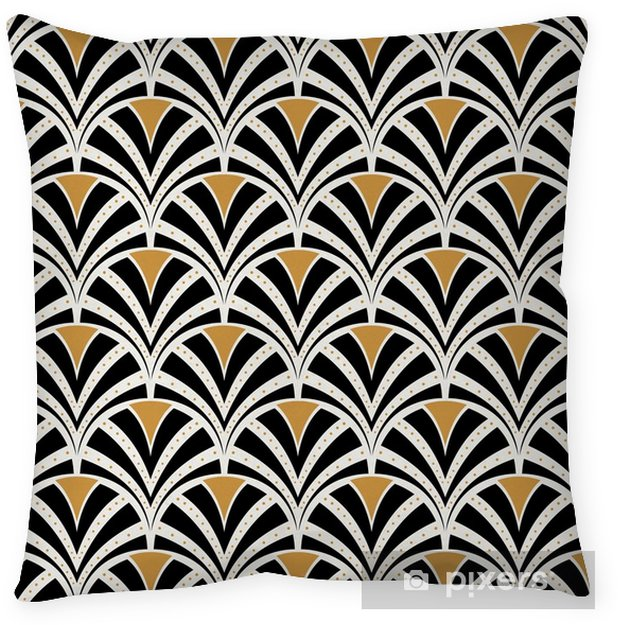 Funda de almohada Vector floral art nouveau de patrones sin fisuras. textura de hojas geométricas decorativas. Fondo con estilo retro. - Recursos gráficos