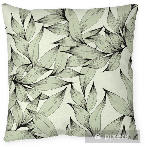 Funda de almohada Vector sin patrón con ramas y hojas. Dibujo a mano. Patrón decorativo para el diseño. - Plantas y flores