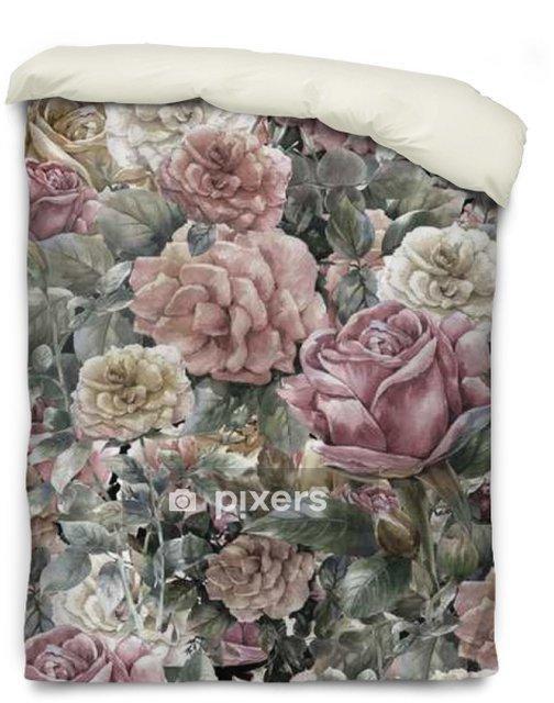Funda de edredón Acuarela de flores, rosa, modelo inconsútil - Recursos gráficos