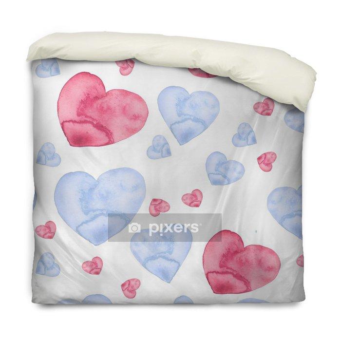 Funda de edredón Acuarela de patrones sin fisuras con un patrón de rosa, azul corazón. en el fondo blanco aislado. Ilustración de arte para su diseño. - Recursos gráficos