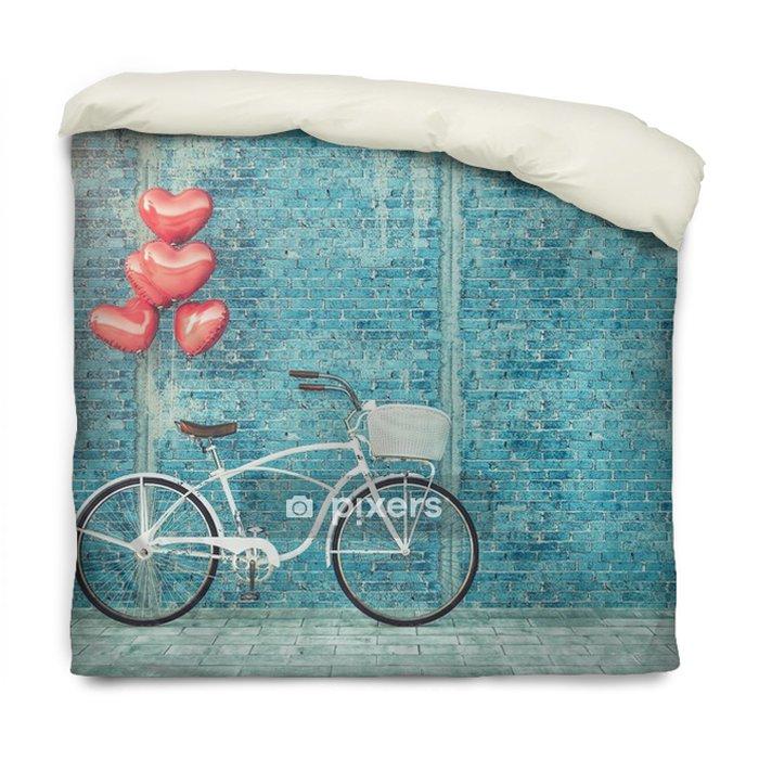 Edredon Bicicleta.Funda De Edredon Bicicleta Vintage Estacionado Al Lado De La Pared De Madera