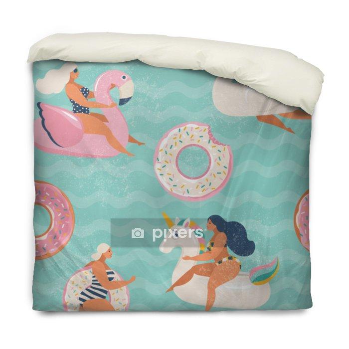 Funda de edredón Flamenco, unicornio, cisne y buñuelo dulce flotador inflable de la piscina vector sin patrón. - Hobbies y entretenimiento