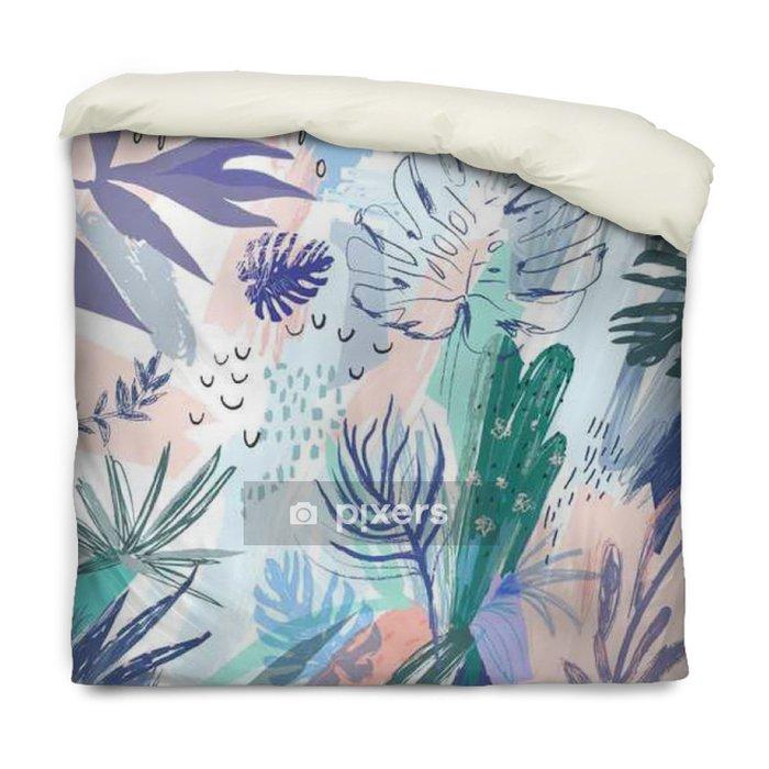Funda de edredón Fondo floral creativo universal con un estilo tropical. Vector - Plantas y flores