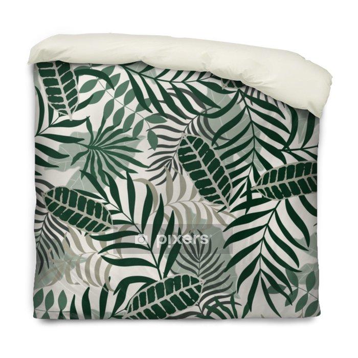 Funda de edredón Fondo tropical con hojas de palma. Seamless patrón floral - Plantas y flores