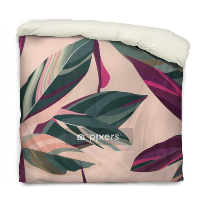Funda de edredón Hojas de cordelia sobre un fondo rosa. patrón floral sin fisuras - Plantas y flores