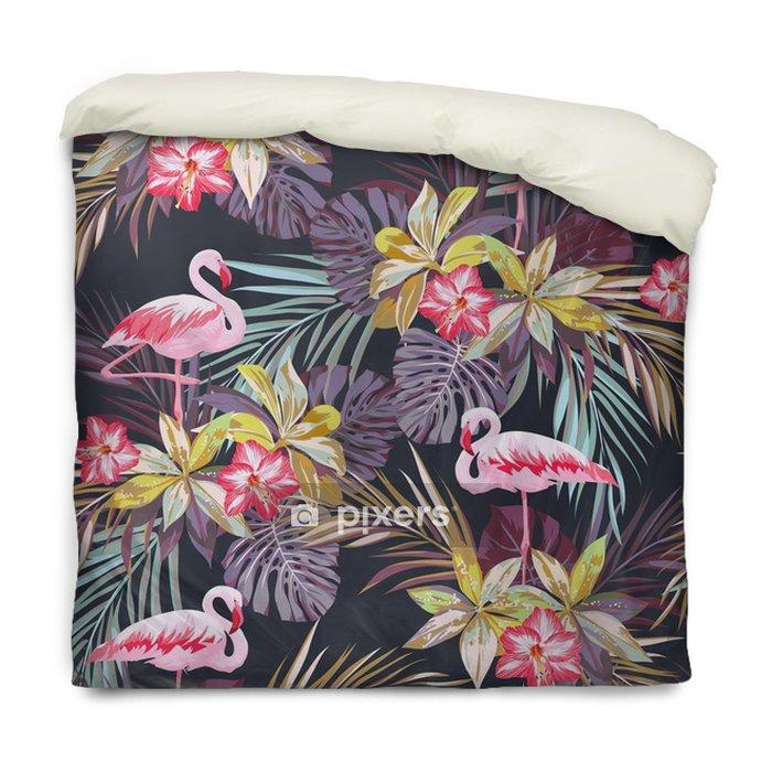 Funda de edredón Modelo inconsútil del verano tropical con flamenco aves y plantas exóticas -