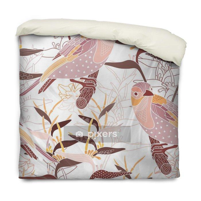 Funda de edredón Modelo inconsútil floral con los pájaros - Recursos gráficos